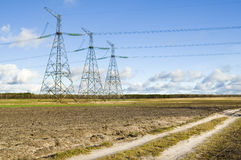 Transmission line support Royalty Free Stock Photography
