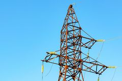Transmission line tower on blue sky Stock Image