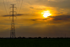 Transmission line and tower royalty free stock photography