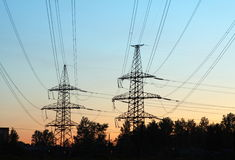 Transmission line towers Stock Photos