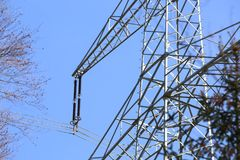 Transmission line. On background of blue sky Royalty Free Stock Photo