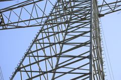 Transmission line. On background of blue sky Stock Photo