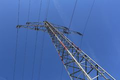 Transmission line. On background of blue sky royalty free stock photography