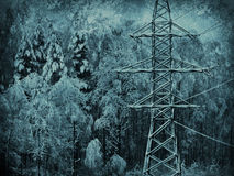 Transmission line in winter snow Stock Photos