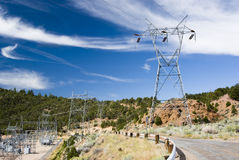 Transmission lines. Electricity sub-station and transmission lines at Flaming Gorge Dam Royalty Free Stock Photo