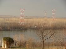 Transmission lines across Danube river stock image