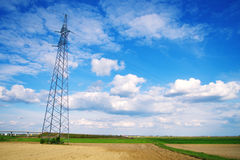 Transmission lines in the field Royalty Free Stock Photo