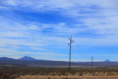 Transmission lines in highlands of Bolivia Royalty Free Stock Images