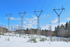 Transmission lines pylons Royalty Free Stock Photos