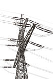 Transmission lines tower - isolated Royalty Free Stock Image