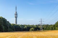 Transmission mast tower television stock image