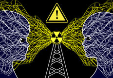 Transmission Masts and Health Risk. The radiation of cellular phone or radio towers can harm children Stock Image
