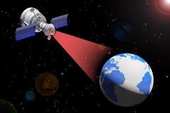 Transmission par satellite moderne au globe de la terre rendu 3d illustration libre de droits