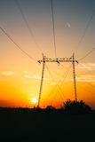 Transmission power line on sunset Stock Image