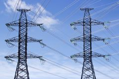 Transmission power lines Stock Images