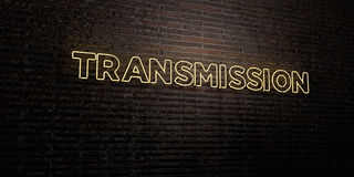 TRANSMISSION -Realistic Neon Sign on Brick Wall background - 3D rendered royalty free stock image. Can be used for online banner ads and direct mailers Stock Photos