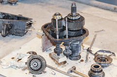 Transmission repair. Automobile gears. Transmission parts Stock Photography