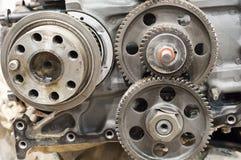 Transmission repair. Metal gears background, transmission repair Stock Photos