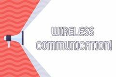 Transmission sans fil des textes d'écriture Signification de concept communiquant entre les dispositifs à l'aide d'un mégaphon illustration stock