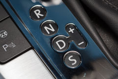 Transmission shift gate. Detail of automatic transmission shift gate with pattern PRNDS in modern car Stock Image