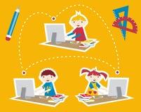 Transmission sociale de réseau d'école illustration libre de droits