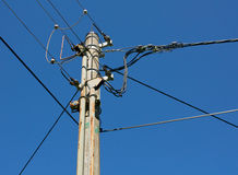 Transmission tower. On blue sky Stock Photography