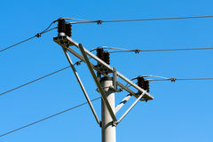 Transmission tower. On blue sky royalty free stock photo