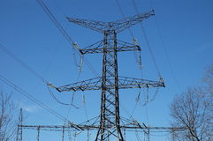 Transmission Tower. A view of a transmission tower and electricity lines Stock Image