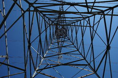Transmission Tower. A view of a transmission tower and electricity lines Royalty Free Stock Photo