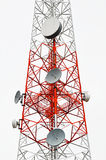 Transmission tower. Red and white transmission tower royalty free stock photo