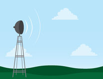 Transmission Tower. In field with signal waves Stock Image