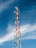 Transmission tower. A transmission tower with blue sky and clouds in background Stock Photography