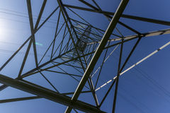The transmission tower. From a close distance stock images