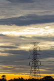 Transmission tower at early morning. Silhouette Transmission tower at early morning stock photo