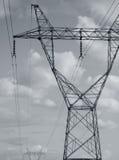 TRANSMISSION TOWER OR ELECTRICITY PYLON. BLACK AND WHITE PHOTO OF TRANSMISSION TOWER OR ELECTRICITY PYLON stock photography