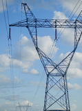 TRANSMISSION TOWER OR ELECTRICITY PYLON. COLOR PHOTO OF TRANSMISSION TOWER OR ELECTRICITY PYLON royalty free stock photo