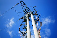 Transmission tower. For electricity supply royalty free stock images