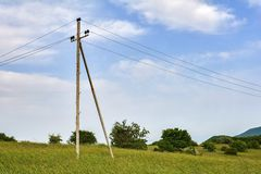 Transmission tower in field Royalty Free Stock Image
