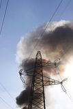 Transmission tower fire Royalty Free Stock Image