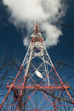 Transmission tower, GSM transmitter, metal construction.  stock photos