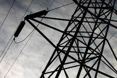 Transmission tower with high voltage wires Stock Photo