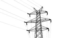 Transmission tower with high voltage wires. Detail of transmission tower with high voltage wires Stock Images