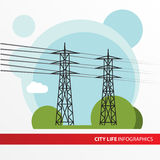 Transmission tower. Isolated power-line carrier Stock Photos