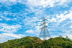 A transmission tower. Located at Yuen Long district, Hong Kong. stock image