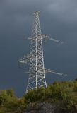 Transmission tower. On the mountain stock image
