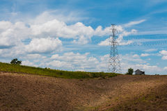 Transmission tower on mountain. High-voltage power transmission towers Stock Image