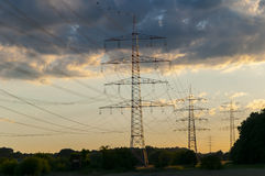 Transmission tower. Over land energy transfer Stock Photography