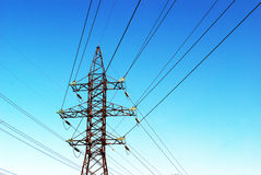 Transmission tower. On power line royalty free stock photos