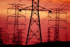 Transmission tower or power tower. A transmission tower or power tower electricity pylon in the United Kingdom, Canada and parts of Europe is a tall structure stock photos