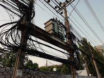 Transmission Tower or Power Tower and Transformer, Transformer on high power station. High voltage stock photos
